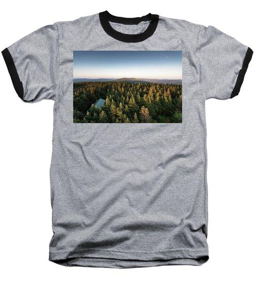 Balsam Lake Mountain Sunset Moon Baseball T-Shirt
