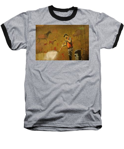 Banksy's Cave Painting Cleaner Baseball T-Shirt