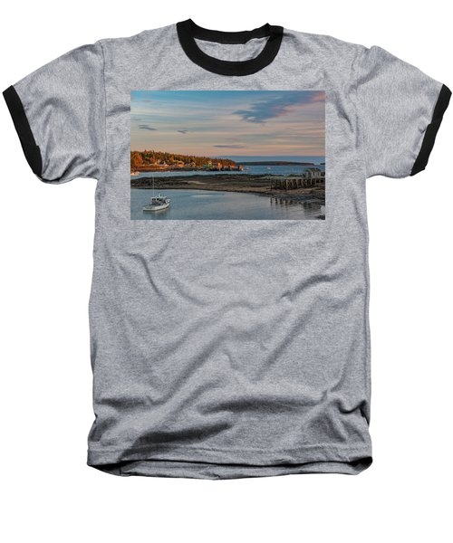 Bass Harbor Sunset Baseball T-Shirt