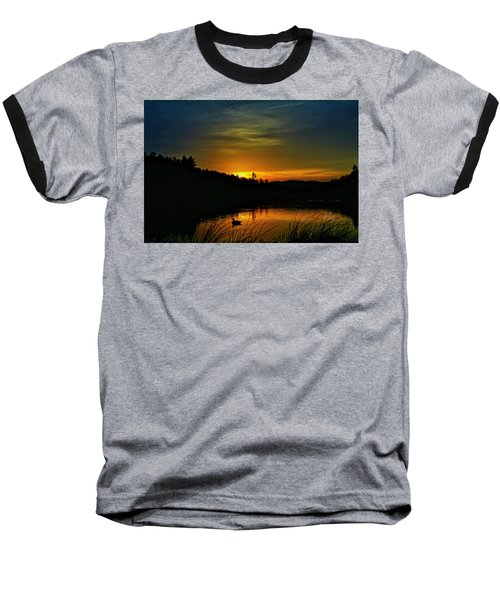 Bass Lake Sunrise Duck Baseball T-Shirt