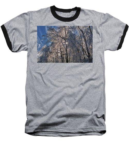 Bass Lake Trees Frozen Baseball T-Shirt
