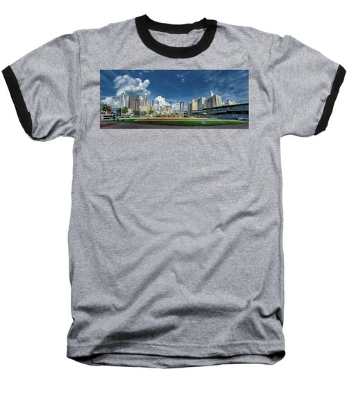 Baseball T-Shirt featuring the photograph Bbt Baseball Charlotte Nc Knights Baseball Stadium And City Skyl by Alex Grichenko