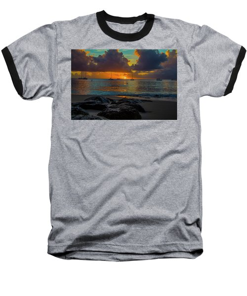 Beach At Sunset Baseball T-Shirt