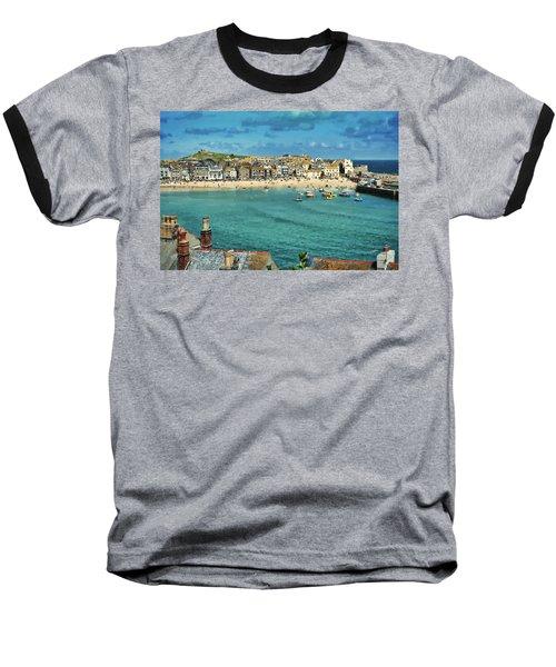 Beach From Across Bay St. Ives, Cornwall, England Baseball T-Shirt