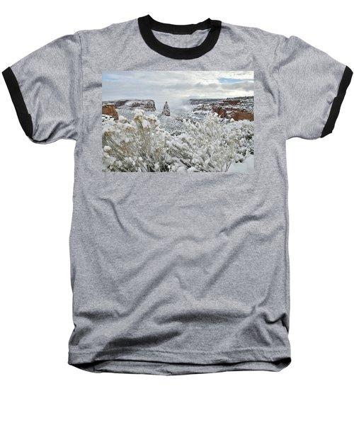 Beautiful Snow Morning Along Rim Rock Drive Baseball T-Shirt