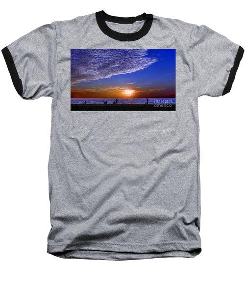 Beautiful Sunset With Ships And People Baseball T-Shirt