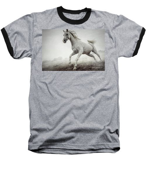 Baseball T-Shirt featuring the photograph Beautiful White Horse Running In Mist by Dimitar Hristov