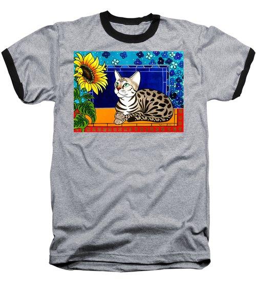 Beauty In Bloom - Savannah Cat Painting Baseball T-Shirt