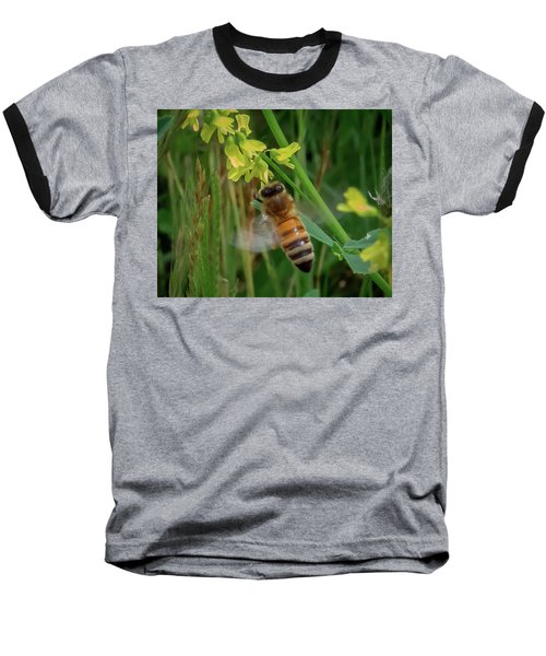 Baseball T-Shirt featuring the photograph Bee And Flower by Lora J Wilson