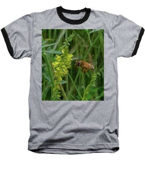 Baseball T-Shirt featuring the photograph Bee In Flight by Lora J Wilson