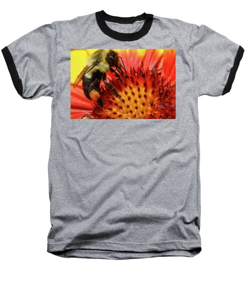 Bee Red Flower Baseball T-Shirt
