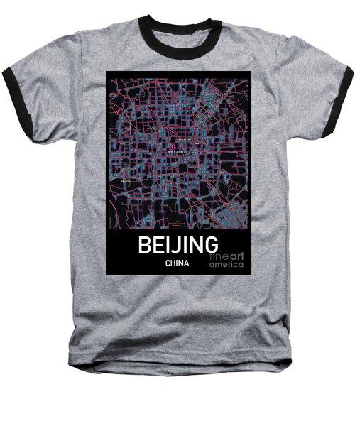 Beijing City Map Baseball T-Shirt