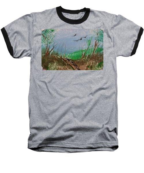Birds Over Grassland Baseball T-Shirt