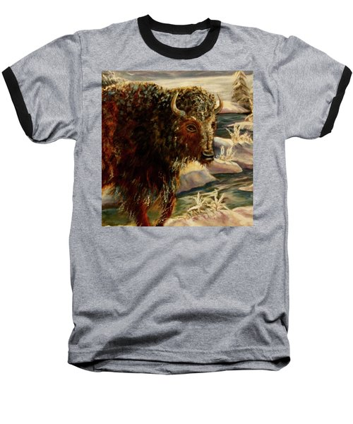 Bison In The Depths Of Winter In Yellowstone National Park Baseball T-Shirt