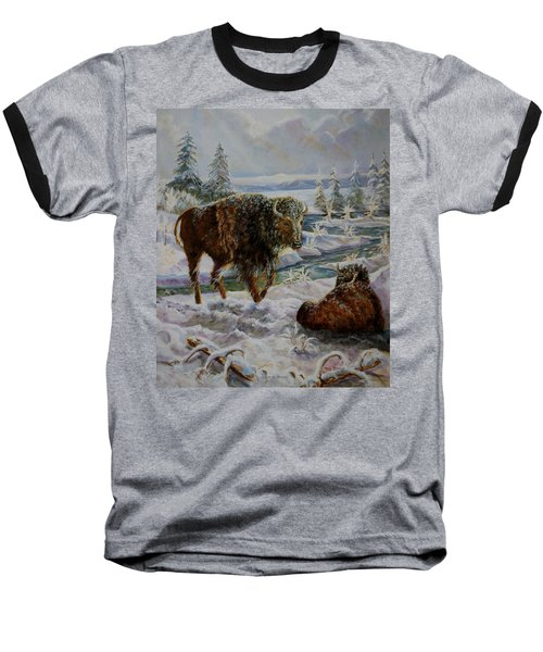Bison In Yellowstone In The Winter Baseball T-Shirt