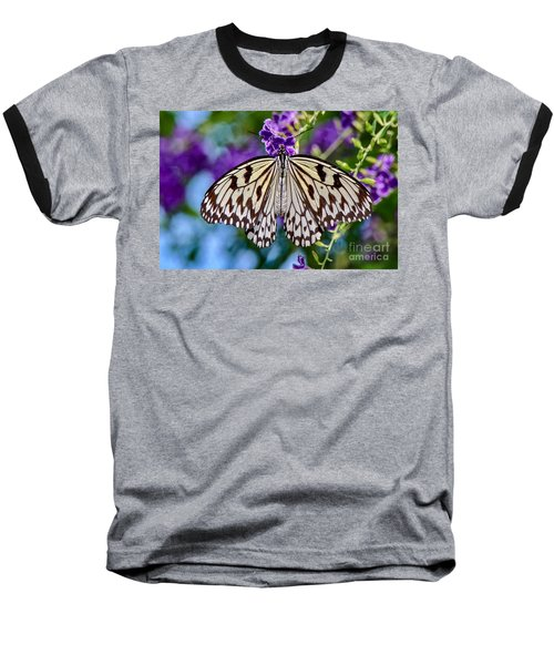 Black And White Paper Kite Butterfly Baseball T-Shirt