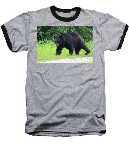 Black Bear Crossing Baseball T-Shirt