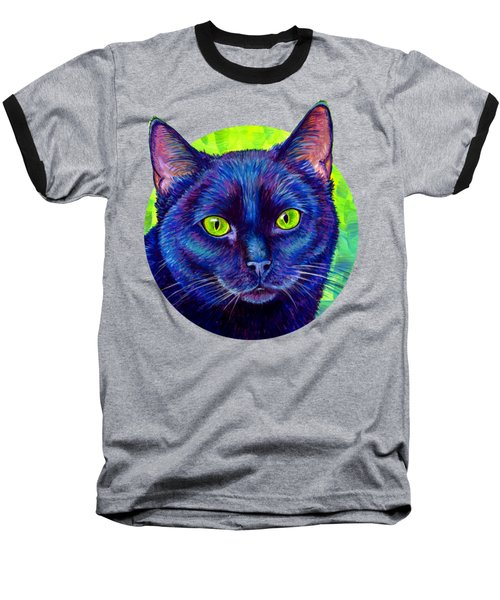 Black Cat With Chartreuse Eyes Baseball T-Shirt