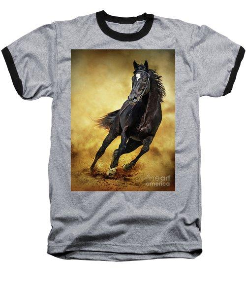 Baseball T-Shirt featuring the photograph Black Horse Running Wild by Dimitar Hristov