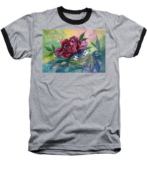Black Peony Flower And Butterflies Baseball T-Shirt