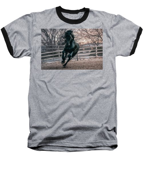 Black Stallion Cantering Baseball T-Shirt