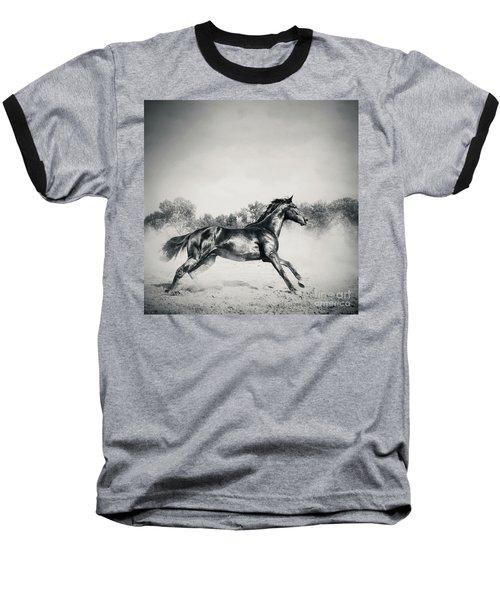 Baseball T-Shirt featuring the photograph Black Stallion Horse by Dimitar Hristov