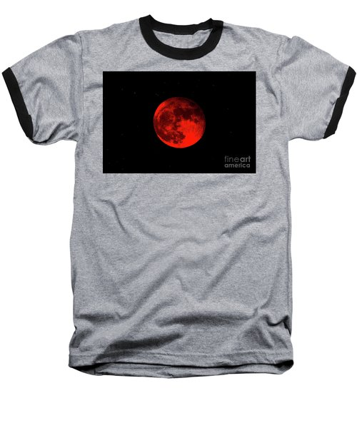 Blood Red Wolf Supermoon Eclipse 873a Baseball T-Shirt
