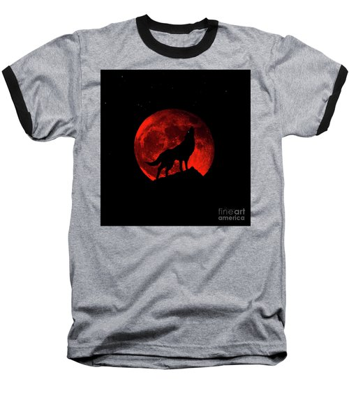 Blood Red Wolf Supermoon Eclipse 873l Baseball T-Shirt