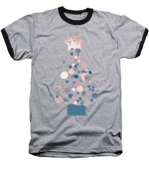 Blue Confetti Christmas Tree  Baseball T-Shirt