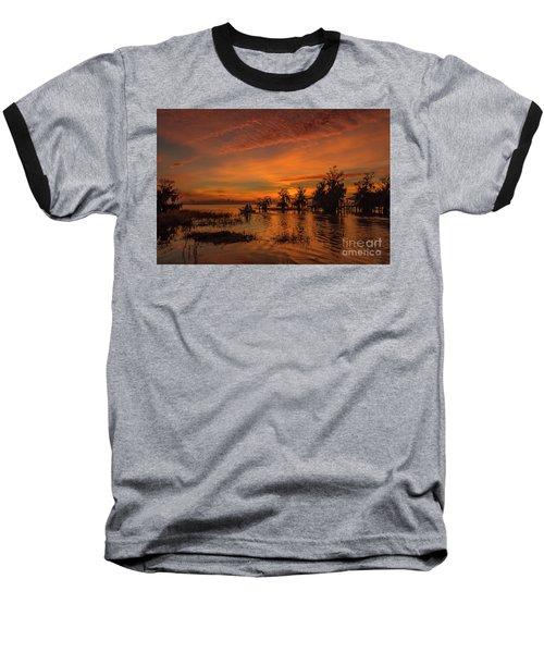 Blue Cypress Sunrise With Boat Baseball T-Shirt