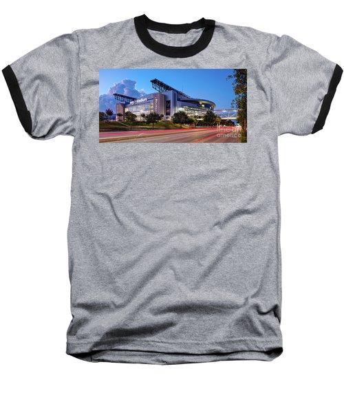 Blue Hour Photograph Of Nrg Stadium - Home Of The Houston Texans - Houston Texas Baseball T-Shirt