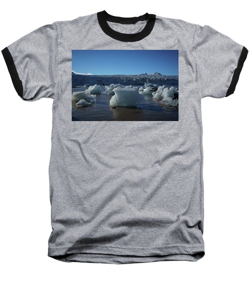Blue Icebergs Floating Along Storm Arctic Coast Panorama Baseball T-Shirt