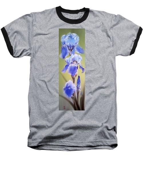 Blue Irises With Sleeping Baby Mouse Baseball T-Shirt