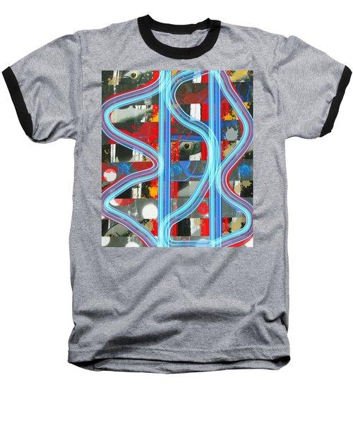 Blue Meet Red Black And White Fish Baseball T-Shirt