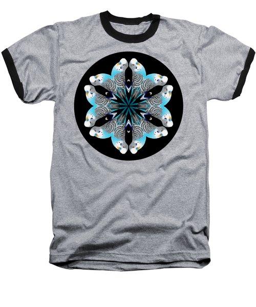 Blue Parakeet Mandala Baseball T-Shirt