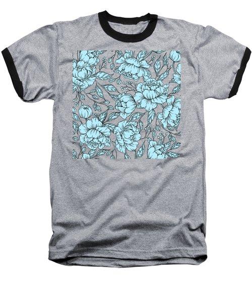 Blue Peonies Baseball T-Shirt