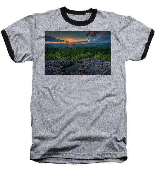 Blue Ridge Mountain Sunset Baseball T-Shirt