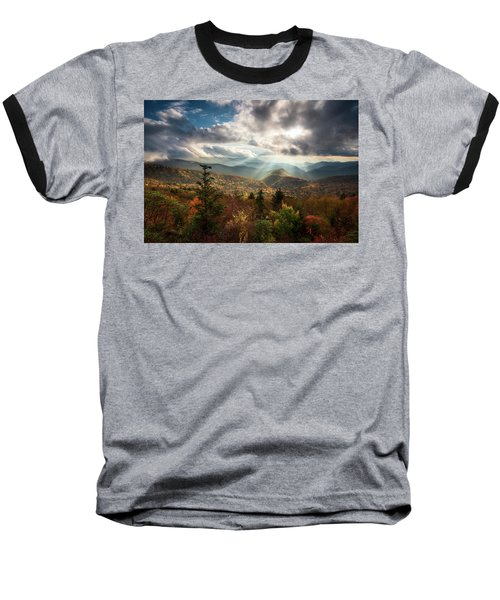 Blue Ridge Mountains Asheville Nc Scenic Autumn Landscape Photography Baseball T-Shirt