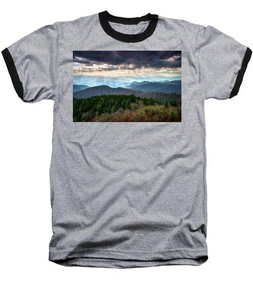 Blue Ridge Mountains Asheville Nc Scenic Light Rays Landscape Photography Baseball T-Shirt