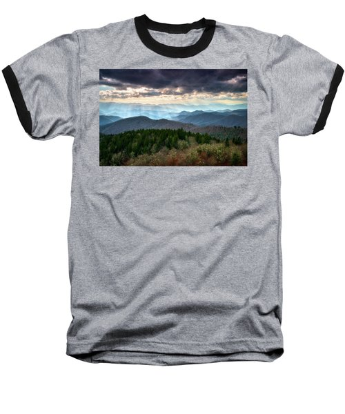 Blue Ridge Mountains Asheville Nc Scenic Light Rays Landscape Photography Baseball T-Shirt