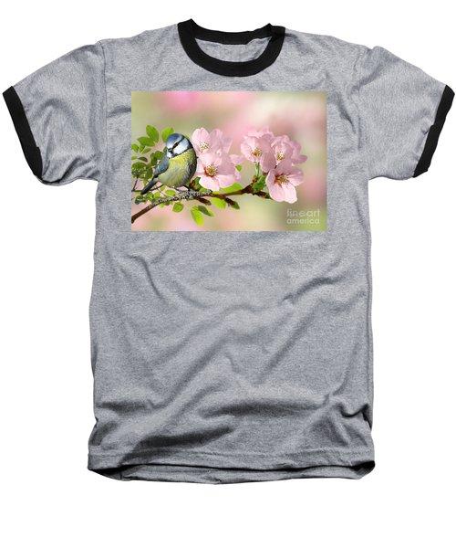 Blue Tit On Apple Blossom Baseball T-Shirt