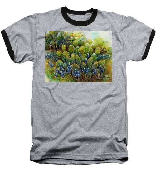 Bluebonnets And Cactus 2 Baseball T-Shirt