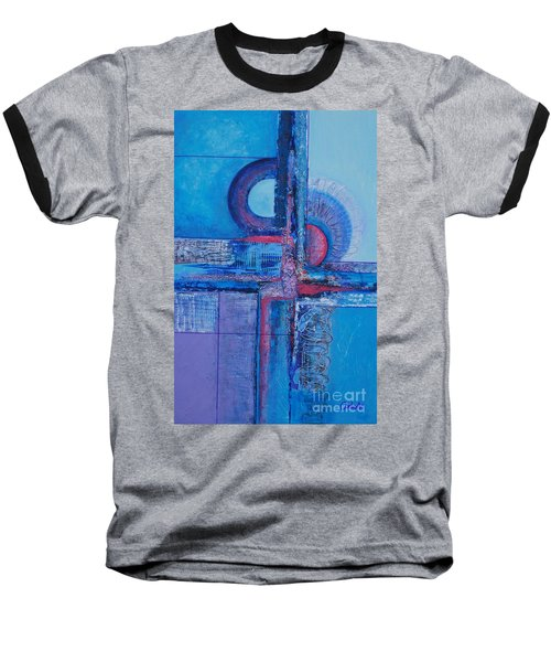 Blues With Purple Abstract Baseball T-Shirt