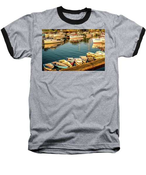 Boats In The Cove. Perkins Cove, Maine Baseball T-Shirt