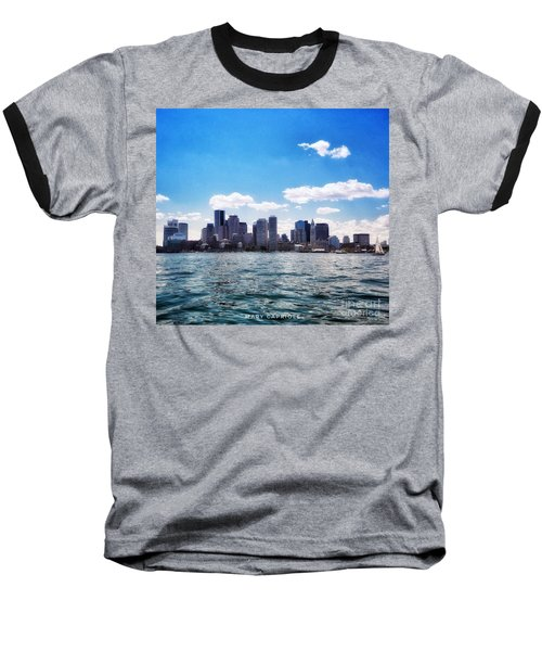 Boston Skyline From Boston Harbor  Baseball T-Shirt