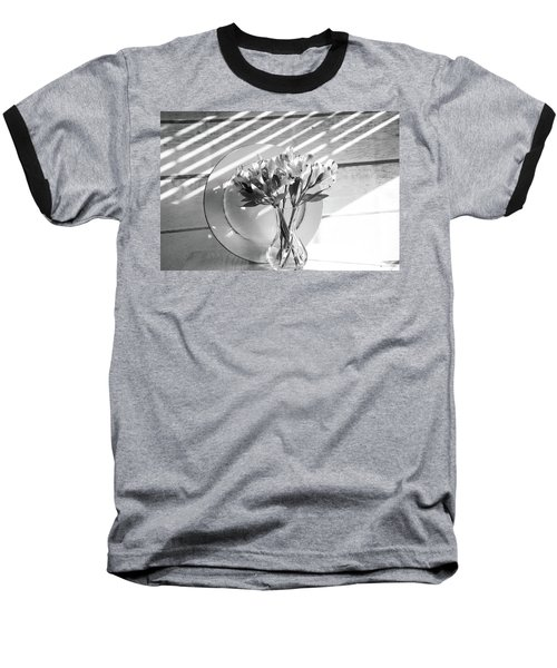 Bouquet And Plate-bw Baseball T-Shirt