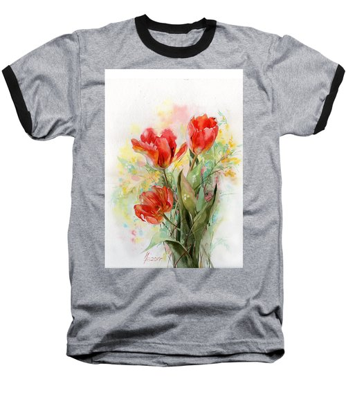 Bouquet Of Red Tulips Baseball T-Shirt
