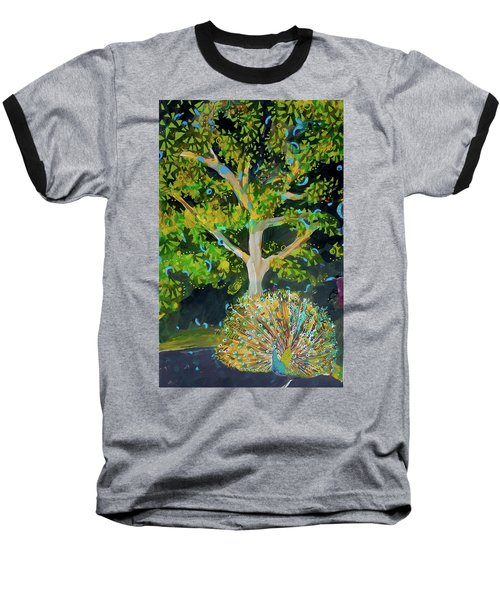 Branching Out Peacock Baseball T-Shirt