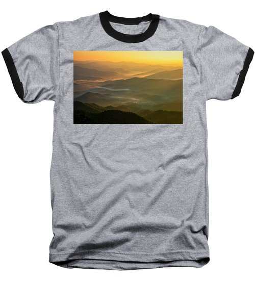 Baseball T-Shirt featuring the photograph Brasstown Bald Mists by Andy Crawford