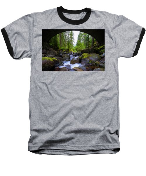 Bridge Below Rainier Baseball T-Shirt